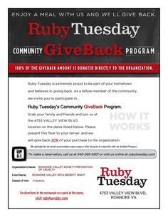 Friday January 16 Benefit Night at Ruby Tuesdays! Bring in this flyer and 20% of our ticket total will go directly to the Roanoke Valley SPCA!
