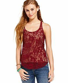 American Rag Juniors Top, Sleeveless Lace Tank - Juniors Tops - Macy's