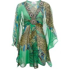 Jewelled Kaftan ($155) ❤ liked on Polyvore featuring tops, dresses, shirts, vestidos, blouses, women, all-over print shirts, sequin shirt, green v neck shirt and green sequin shirt