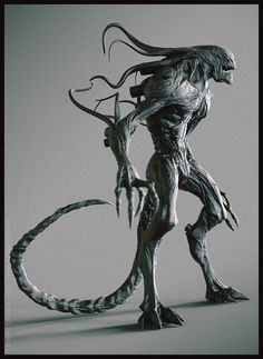 Quick update on my hybrid alien concept, adding the tail and posing it. Monster Concept Art, Alien Concept Art, Creature Concept Art, Fantasy Monster, Monster Art, Creature Design, Arte Alien, Alien Art, Alien Creatures
