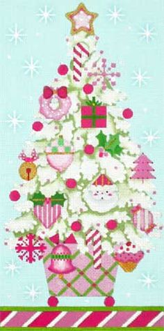 Melissa Shirley Designs | Hand Painted Needlepoint | Pink Christmas Topiary