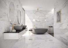 WohnDirWas - planning your dream bathroom correctly, You dream of such bathrooms, don't you? How to plan your own dream bathroom. You can find more ideas, inspiration and tips for your bathroom at www. Modern Master Bathroom, Dream Bathrooms, Beautiful Bathrooms, Modern Marble Bathroom, Mansion Bathrooms, White Bathrooms, Marble Bathrooms, Luxury Bathrooms, Master Bathrooms