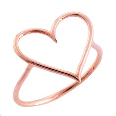 Simple pink gold heart ring.