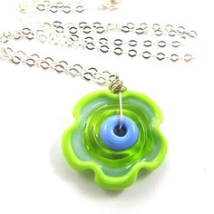 Glass necklace  Lampwork necklace one of a kind  by SariGlassman, $39.00