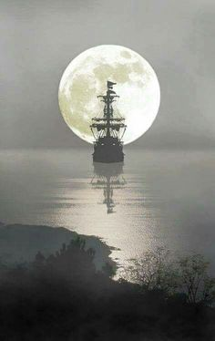"""""""I must go down to the sea.to the lonely sea and the sky, And all I ask is a tall ship, and a star to steer her by."""" ― John Masefield // Dream Ship by Abdurrahmen Kandil Stars Night, Stars And Moon, Bateau Pirate, Shoot The Moon, Moon Pictures, Beautiful Moon, Beautiful Images, Tall Ships, Blue Moon"""
