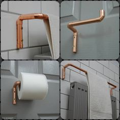 Toilettenpapierhalter & Handtuchhalter aus Kupfer Toilet Paper Holder & Towel Holder made of Copper Toilet Roll Holder, Towel Holder, Pipe Furniture, Bathroom Furniture, Bathroom Cabinets, Diy Bathroom Decor, Bathroom Storage, Bathroom Ideas, Copper Bathroom Accessories