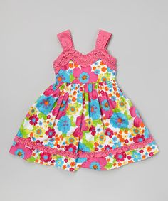 Another great find on #zulily! Pink & Turquoise Floral Ruffle Dress - Toddler & Girls by Youngland #zulilyfinds