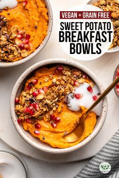These Sweet Potato Breakfast Bowls are a healthy and hearty way to enjoy your morning meal They re also Vegan Gluten Free Sugar Free and Grain Free sweetpotato breakfast mealprep grainfree plantbased vegan # Sweet Potato Breakfast, Breakfast Potatoes, Free Breakfast, Breakfast Bowls, Mexican Breakfast, Breakfast Sandwiches, Breakfast Pizza, Low Carb Vegan Breakfast, Healthy Breakfast Recipes