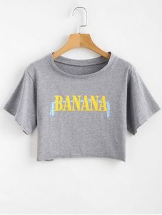 Shop for Crop Letter Print Tee GRAY: Tees ONE SIZE at ZAFUL. Only $14.49 and free shipping!