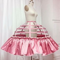 Constructed from iridescent bubblegum taffeta and matching grosgrain ribbons this frilled concoction is ready for Peach's petticoats! Mermaid Dress Pattern, Cage Skirt, Corset, Structured Fashion, 18th Century Costume, Hoop Skirt, Dress Tutorials, Blouse Dress, Fashion Quotes
