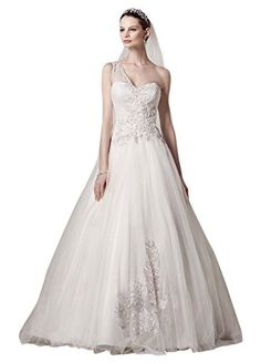 Petite One Shoulder Tulle Wedding Dress Style 7CKP421 Ivory 6P * Learn more by visiting the image link.