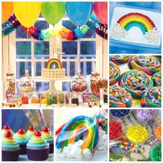 Look at all these rainbow girl birthday party ideas! See more party ideas at CatchMyParty.com. #rainbow #birthdayparty