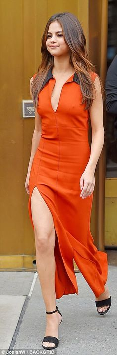 Eye catching: The gown featured a split which highlighted her lean legs