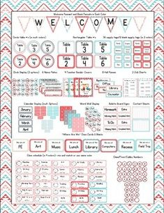 Aztec Turquoise & Red Classroom Bundle Decor Perfect for any teacher loving the Aztec Turquoise & Red print themed classroom and less than 10 cents a page! All the things you need to complete your room theme! Simply print, laminate, cut, and show off your adorable classroom!  This packet contains a total of 150 pages worth of goodies. In your purchase you will receive: Table # Signs (3 colors/styles/shapes) ...and more!