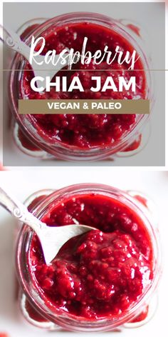 It's easy to make homemade raspberry chia jam. This recipe is 100 fruit sweetened and makes a great spread, topping, or addition to desserts. Learn how to make sugar free chia jam with this easy recipe! This is a vegan and paleo raspberry jam recipe. Jelly Recipes, Fun Easy Recipes, Fruit Recipes, Drink Recipes, Sugar Free Jam, Fruit Jam, Jam And Jelly, Canning Recipes, Tasty