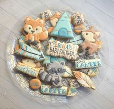 (^o^) C is for Cookie (^o^) ~ Woodland Cookie Platter Baby Shower Sweets, Baby Girl Shower Themes, Baby Shower Decorations, Baby Cookies, Baby Shower Cookies, Cute Cookies, Sugar Cookies, Iced Cookies, Baby Shower Fall
