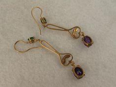 Antique Victorian 9K Gold Amethyst, Emerald, Pearl Suffragette Earrings