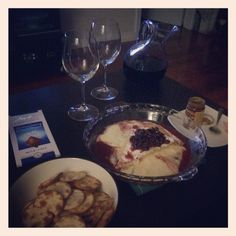 Cranberry bri served with red wine and chocolate #datenight