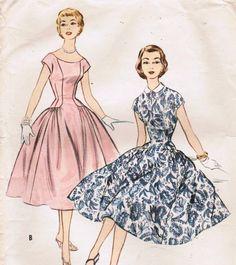 1950s McCall's 3046 Vintage Sewing Pattern Junior Dress via Etsy.