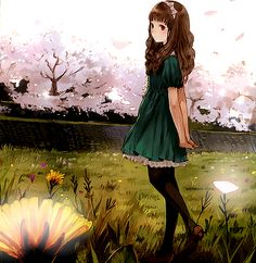 Cute anime girl in field with cherry trees. there is really good light/dark contrast in this picture