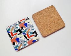 Set of 4 Patterned Wooden Coasters - abstract print, collage pattern, geometric shapes, colourful, drink coasters, drink mats