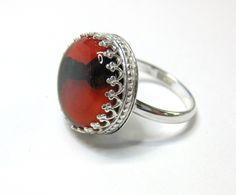 Ring i sølv med kunstglass Handmade Silver, Silver Jewelry, Gemstone Rings, Gemstones, Fashion, Stone, Ring, Moda, Fashion Styles