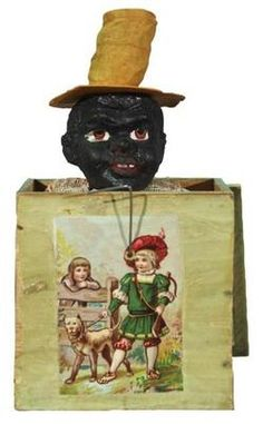 Jack-in-the-Box; African-American, Wood/Composition, 7 inch.