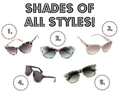 #Sunglasses of all shapes, sizes, and colors - find the perfect pair!
