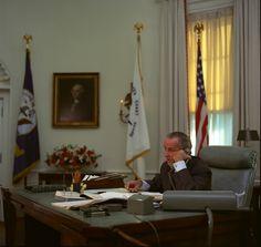 President Lyndon B. Johnson on the telephone.