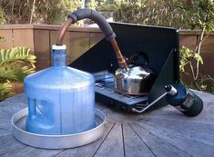 Stovetop water distiller/Pasteurizer purifies water using a campstove Great survival/ camp trick. Survival Food, Camping Survival, Outdoor Survival, Survival Prepping, Emergency Preparedness, Survival Skills, Survival Stuff, Emergency Preparation, Survival Supplies