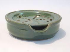 Soap Dish with Drain Tray - One Piece Soap Saver for Kitchen or Bath - Handmade Pottery Glazed Mossy Forest Green.