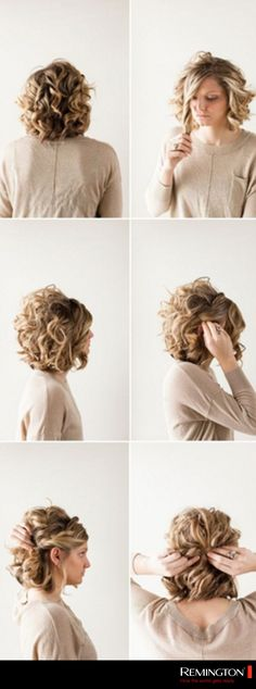 Si tienes cabello corto intenta un peinado como este.  Riza tu cabello y…