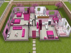 Pink-and-white themed house
