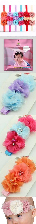 ROEWELL® Cute 6 Pcs Baby Headbands Girl's Hair Bows Newborn Hairband Headband(6 Pack)