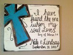 Custom Last name, wedding date  Verse Cross canvas.   I LOVE this!