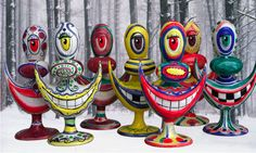 Hand painted Limited Edition Bongs by Pop Artist Kenny Scharf