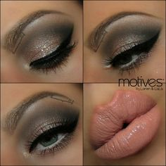 Here is a natural kind of Smokey eye with a Pop of Glitter.