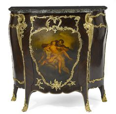 A Louis XV style gilt bronze mounted and paint decorated rosewood meuble d'entrefourth quarter 19th century