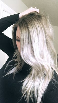 My current hair. Icy white ends, ash gray roots. All my hair, no extensions! Read more about how I keep my hair healthy!