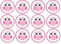 12 Pink Owl Edible Rice/Wafer Paper Cake/Cupcake Toppers