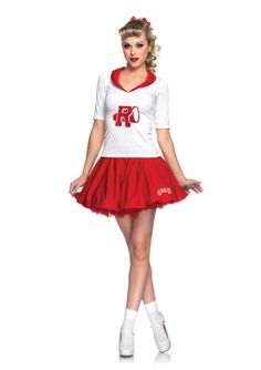 with Skirt /& Top - Red /& White Size: .. COST-W NEW Sandy Cheerleader Costume