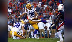 LSU's Cole Tracy kicks the winning field goal to defeat Auburn on Saturday in Auburn, Ala. Lsu Tigers Football, College Football, Auburn, Kicks, Goals, Purple, Auburn Brown, Viola