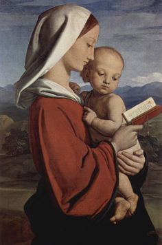 """William Dyce, """"The Madonna and Child"""".  I like the way her profile is painted, especially her nose."""