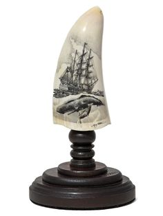 'Missed Quarry!' scrimshaw by Ray Peters. Black and white scrimshaw on whale's tooth by Ray Peters. Clean lines and excellent detail all around. Nautical Artwork, Fresh Tattoo, Naive Art, Installation Art, Decorative Bells, Teeth, Crow's Nest, Ivory, Carving