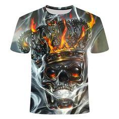 King Skull Flaming T-Shirt | Skullflow Punk, 3d T Shirts, Skull Shirts, Going Out Tops, Plus Size T Shirts, Grey Shorts, Herren T Shirt, Mens Clothing Styles, Street Chic