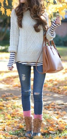 Stripes & Comfy Wooly White Sweater: upgrade on perfection.