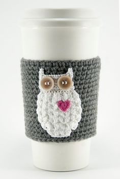 Coffee cozy cup sleeve owl always love you owl by TableTopJewels