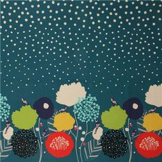 Tissu echino par Etsuko Furuya cerise sauvage fleur bleu vert japonais tissu