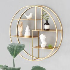 Online Shop A rack on the dining room wall Wall shelves adorn shelves Golden wall bracket & sundries shelf on the wall Room Ideas Bedroom, Diy Bedroom Decor, Living Room Decor, Home Decor, Gold Wall Decor, Wall Shelf Decor, Round Shelf, Gold Shelves, Gold Walls