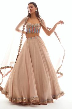 Buy Embellished Organza Lehenga Set by Vvani by Vani Vats at Aza Fashions Indian Fashion Dresses, Indian Bridal Outfits, Indian Gowns Dresses, Indian Party Wear, Dress Indian Style, Indian Designer Outfits, Indian Wedding Dresses, Indian Designers, Indian Fashion Trends